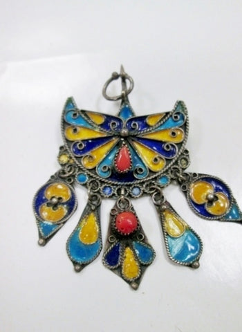 Vintage Handmade Dangle Charm Fan BROOCH PIN ENAMEL Brooch Pin Pendant Ethnic