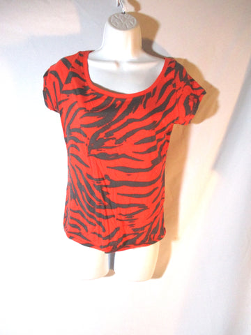 WOMENS DIVIDED T-Shirt Tank Top 10 TIGER STRIPE Tee ORANGE