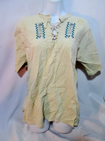 WOMENS Hand Embroidered PUEBLA PEASANT Shirt Top Mexico Floral L ECRU BEIGE