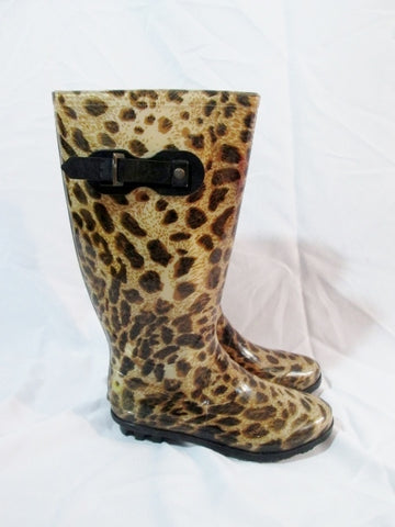Womens CHARLOTTE RUSSE LEOPARD JAGUAR CHEETAH Wellies Rain Boots 9 BROWN