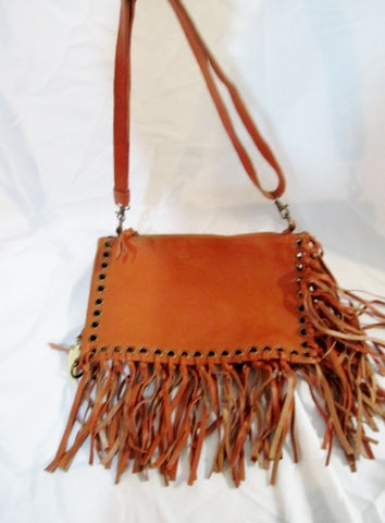 Ethnic Folding Leather Shoulder Bag Purse BROWN Fringe Hippy Boho Eyelet Tooth