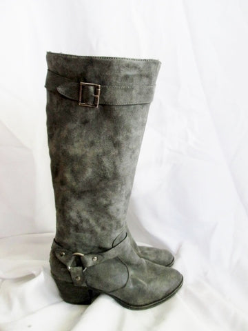 Womens ROCKET DOG Faux Leather Rocker Moto BOOTS 8.5 GRAY Charcoal Knee High
