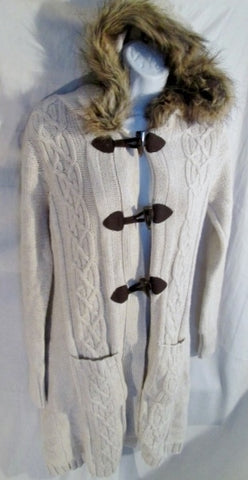 NEW NWT Womens OLD NAVY Ethnic Jacket Cardigan Sweater S WHITE FAUX FUR