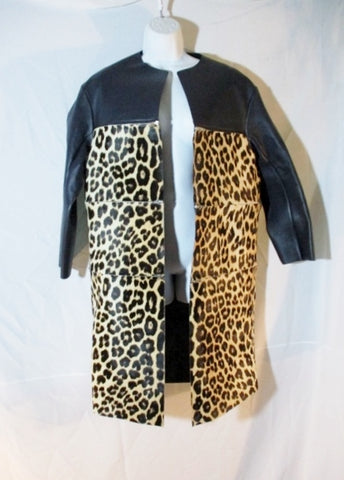 NEW CELINE ITALY LEATHER ZIPPER LEOPARD jacket coat 36 BLACK Womens Cat