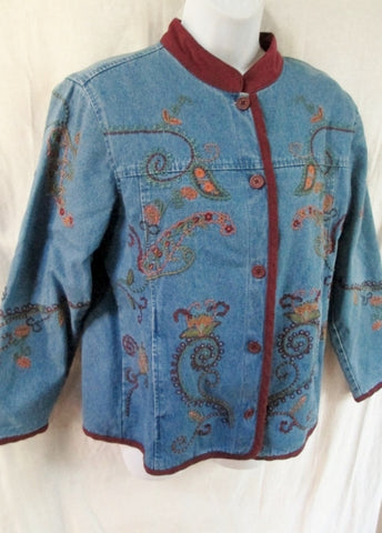 NEW Womens DENIM & CO. EMBROIDERED FLORAL Jean Jacket Coat S BLUE Boho