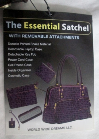 NEW ESSENTIAL Satchel TOTE Vegan Snakeskin Bag Carryall Travel PURPLE