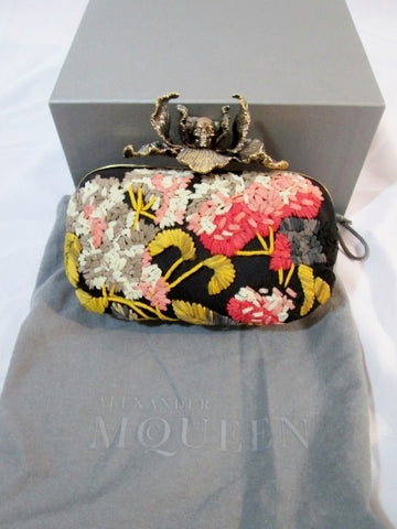 NEW NIB ALEXANDER MCQUEEN IRIS SKULL CLUTCH Embroidered Case Bag