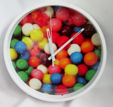 STERLING & NOBLE CLOCK CO. GUMBALL CANDY WALL CLOCK Colorful Classroom WORKS!