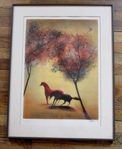 SIGNED Limited Edition HORSE STALLION LITHOGRAPH Frame Picture ART Print