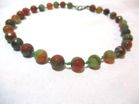 "Hand Knotted 17"" Bead JASPER Stone BROWN GREEN NECKLACE Choker Boho"