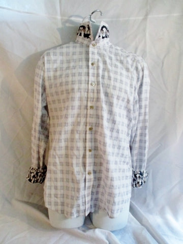 Mens ROBERT GRAHAM EXCLUSIVE Button Up Dress Casual Shirt PLAID M White Blue Black