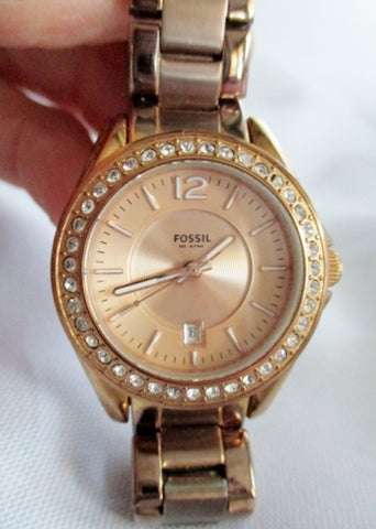 STUNNING FOSSIL 10 ATM Stainless Steel WATCH Rose Gold Rhinestone