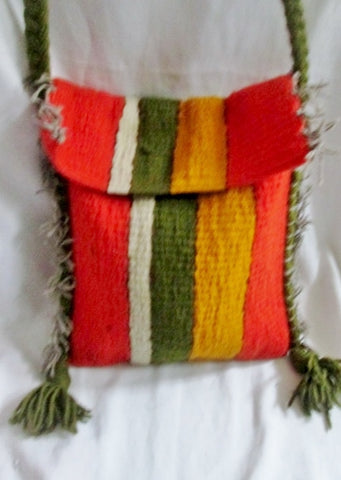 Funky Stripe Kilim Wool Blanket Ethnic Tapestry Carpet Shoulder Bag ORANGE GREEN Fringe