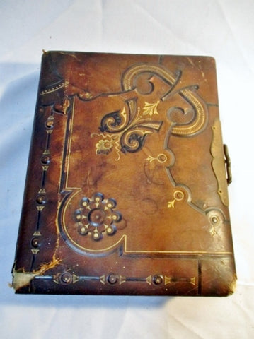 Antique 1800s Leather PORTRAIT Family Photo Album Photograph Picture RARE!