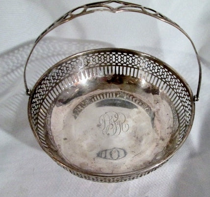 Signed STERLING SILVER Handle DISH BOWL Cut-Out Monogram 65g Art Deco Nouveau