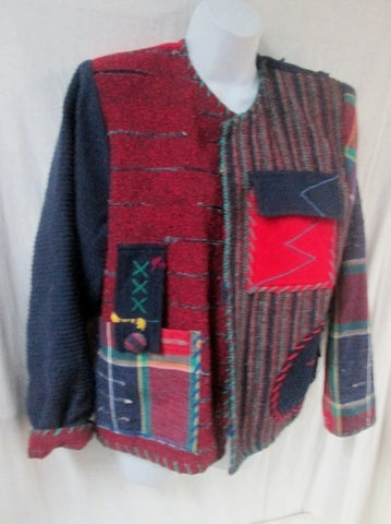 Womens CRYSTAL ART TO WEAR HANDWOVENS Ethnic Geometric Jacket Coat M