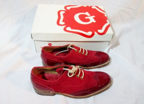 NEW GRENSON ENGLAND MARTHA Suede Shoe Loafer 3.5 / 6.5 RED Womens Derby Leather
