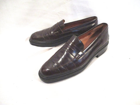 TOD'S ITALY Leather Penny Loafer Moc Shoe BROWN 39 Womens