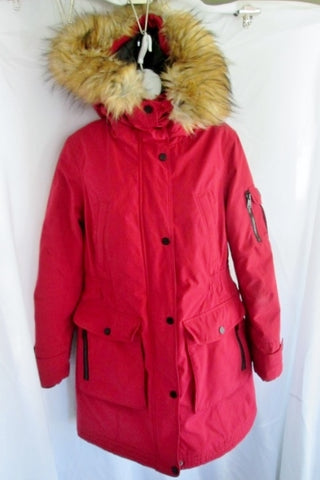 Womens I. MADISON EXPEDITION HERITAGE JACKET Coat Hood Faux FUR RED L CHERRY