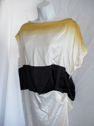 NEW NWT DRIES VAN NOTEN DAGES Silk Dress 38 6 YELLOW WHITE BLACK