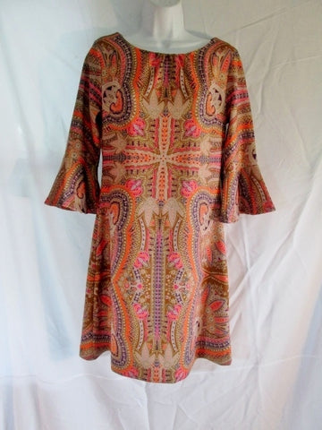 NEW Womens NEW YORK & COMPANY STRETCH Mini CROSS Dress M Hippy Brown Ruffle