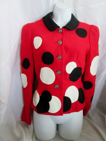 Womens MOSCHINO Cheap & Chic ITALY Jacket Suit 8 RED POLKA DOT WHITE BLACK