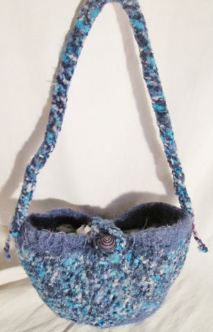 Handmade Boiled Wool Vegan Hobo Bucket Sling Shoulder Bag BLUE AQUA PURPLE Boho