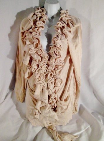 Womens MOTH ANTHROPOLOGIE Ruffle Cardigan Maxi Sweater NUDE PINK S Cascading