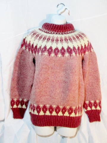 Womens NETHY Hand Knit Fair Isles WOOL SCOTLAND Sweater M PINK RED CREME  WHITE
