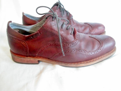 Mens CATERPILLAR Leather WINGTIP OXFORD Loafers Shoes 11 BURGUNDY BROWN