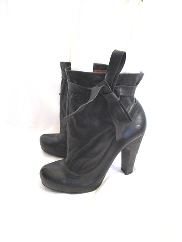 MARC by MARC JACOBS Ruched Leather Bootie Ankle Boot BLACK 36 Shoe