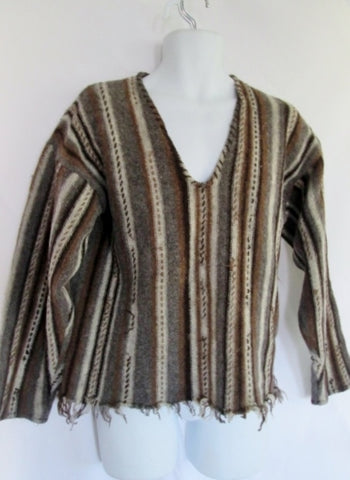Womens HARVEY ROTHSCHILD Woven Wool Knit Sweater Hippie M BROWN STRIPE Fringe
