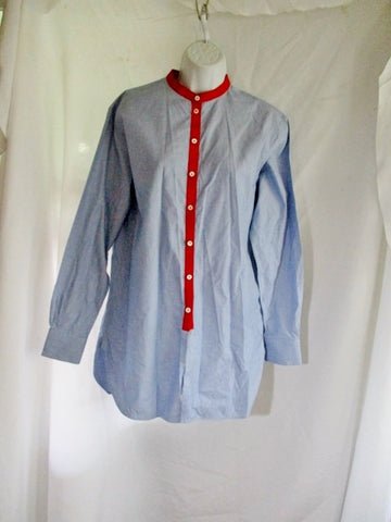 CELINE Band Collar Button-Up Top Shirt Blouse 36 / 4  BLUE Plaid RED Asian