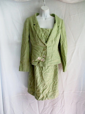 GUY LAROCHE PARIS Embroidered FLORAL Blazer JACKET Dress Set 4/6 S GREEN Womens