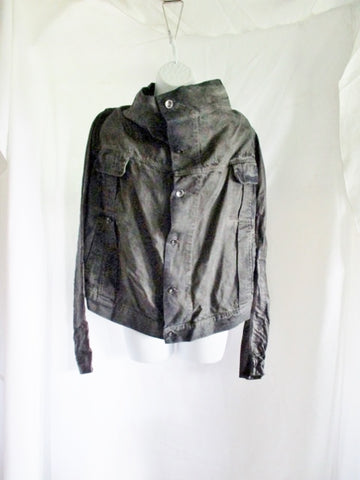 NEW RICK OWENS DRKSHDW EXPLODER Leather Cotton Jacket  S BLACK