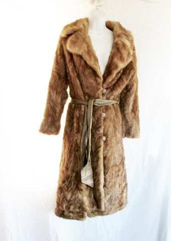 Vintage Womens Genuine MINK Fur Maxi Parka Coat Jacket BROWN M ESTATE FIND