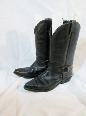 Womens VITTORIO RICCI LEATHER Moto RIDING BOOT BLACK 9 Harness