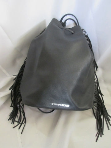 NEW VICTORIA'S SECRET Vegan Fringe BACKPACK RUCKSACK BLACK Book BAG Daytripper