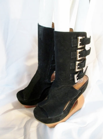 Womens JEFFREY CAMPBELL HI TRACK PLATFORM WEDGE Heel Bootie 9 BLACK Shoe
