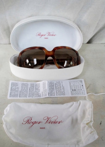 MINT ROGER VIVIER PARIS ITALY 116 62 19 125 Sunglasses Case BROWN TORTOISE