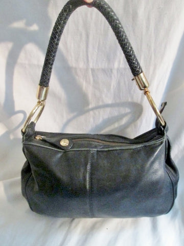 PERLINA NEW YORK Leather Shoulder Bag Handbag Satchel BLACK Hobo Braided Strap