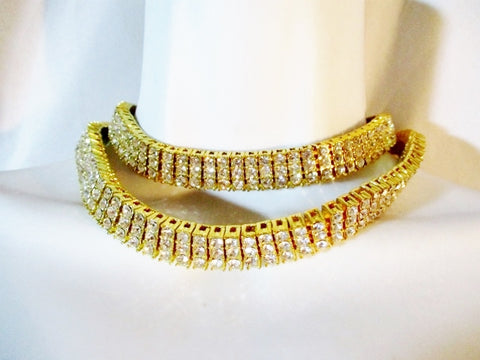 "30"" RHINESTONE Tiered Layer GOLD Necklace Collar Choker Red Carpet Belt GLAM"