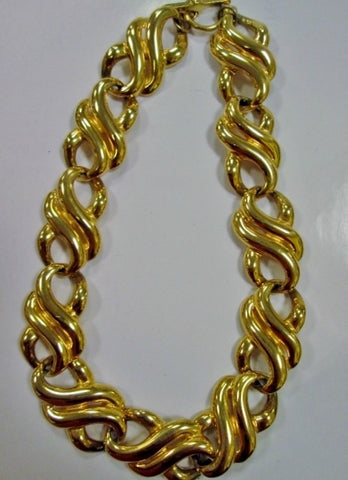 ANNE KLEIN LION Thick GOLDTONE Chainlink CHOKER Necklace Collar Jewelry Statement Swirly Glam