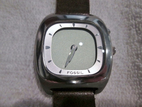 STUNNING FOSSIL BIG TIC ALL STAINLESS STEEL JR-8712 WATCH Leather Brown