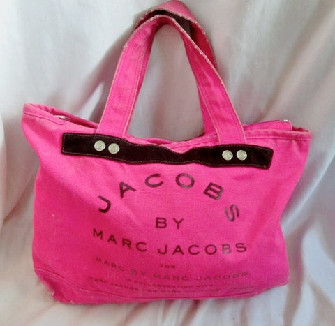 JACOBS BY MARC JACOBS canvas vegan tote shopper carryall NEON HOT PINK L