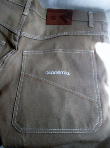 NEW Mens AKADEMIKS 0100946 Hipster JEANS Denim PANTS BEIGE BROWN TAN 40 X 36 BOHO