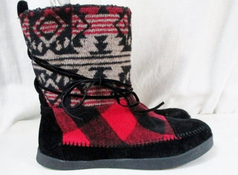 NEW MADDEN GIRL Aztec Maya Tapestry ANKLE BOOT WESTERN SHOE BLACK RED 8.5 Ethnic