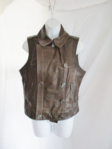 BURBERRY BRIT LEATHER Biker Moto vest jacket coat 10 BROWN Sleeveless