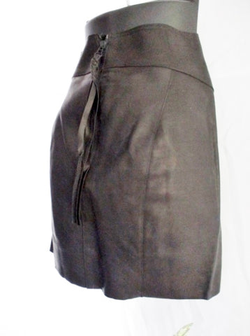 NEW NWT ACNE Leather Mini Skirt 40 / 8 BLACK WOMENS Fringe Tassel Panel Spring Fashion