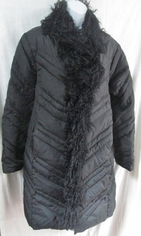 Womens NINE WEST MONGOLIAN SHEEP Fur DOWN Puffer Coat Jacket L BLACK